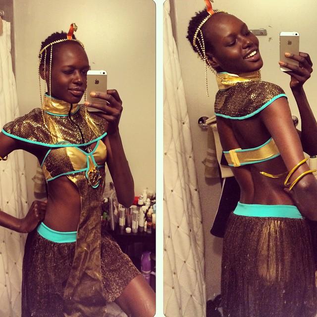 Ajak Deng dressed up as a warrior