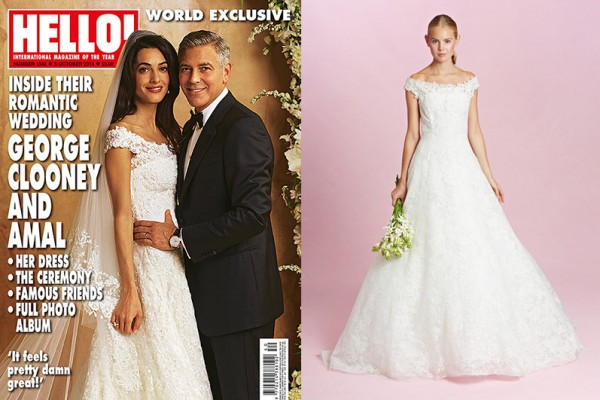 THE DRESS: Oscar de la Renta featured a replica of Amal Alamuddin's wedding day dress in his fall 2015 bridal collection