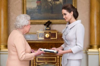 Angelina Jolie Wears Ralph & Russo Couture at Honorary Damehood Ceremony