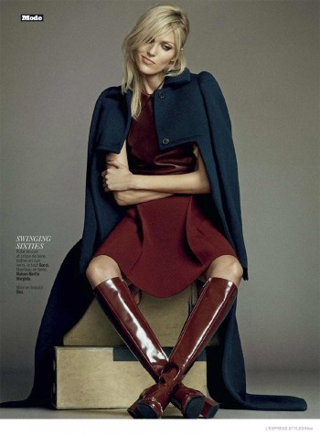Anja Rubik Gets Glam in Fall Looks for Cover Story of L'Express Styles by Nico