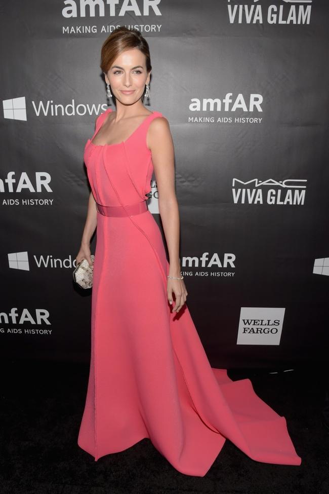 Camilla Belle dons pink Carolina Herrera dress