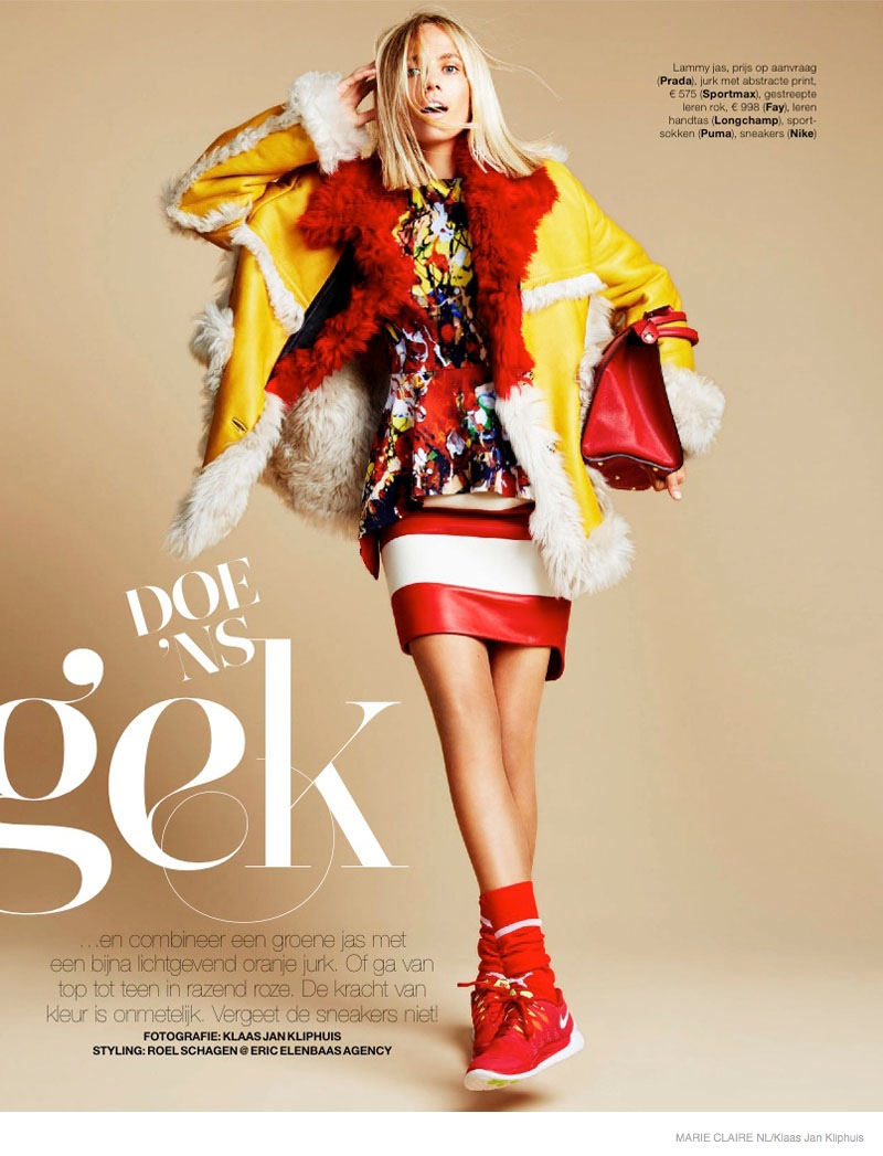 colorful fall fashion shoot07 Tosca Dekker Wears Colorful Fall Fashion for Marie Claire Netherlands