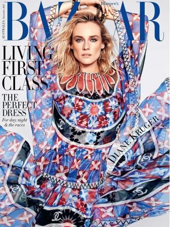 Diane Kruger Wows in Chanel for Harper's Bazaar Australia November 2014 Cover