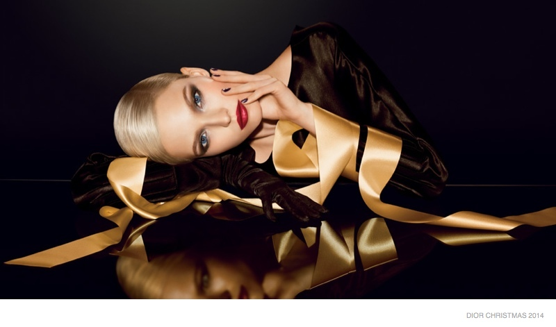 Sasha Luss is Golden in Dior's Christmas 2014 Makeup Ads