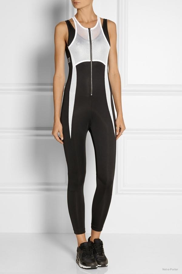 DKNY x Cara Delevingne mesh-paneled stretch-jersey jumpsuit