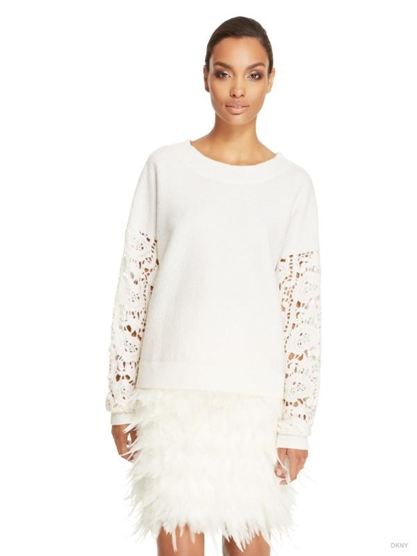 DKNY Crochet Sleeve Pullover