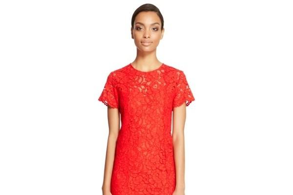 DKNY Flare Hem Lace Dress