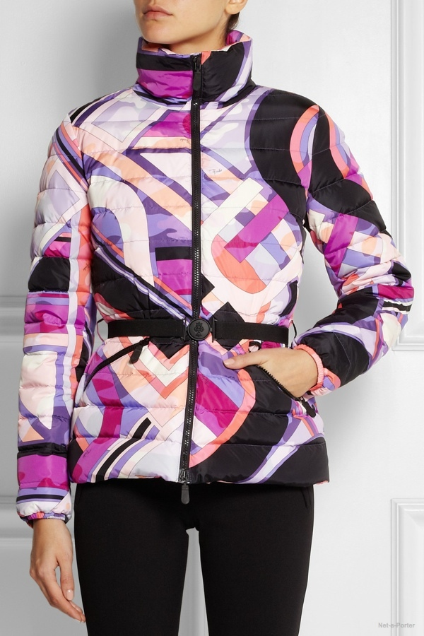 Emilio Pucci quilted printed shell down jacket available at Net-a-Porter for $1,590