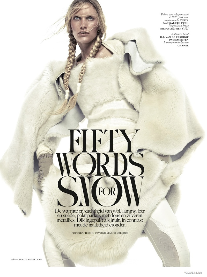 Emily Baker Models Fur Style for Vogue Netherlands by Ishi