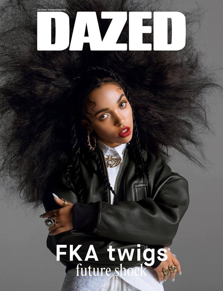 FKA Twigs wears an afro hairstyle on the summer 2014 cover of Dazed Magazine.