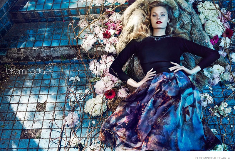Constance Jablonski Models Fall Florals for Bloomingdale's Shoot by An Le