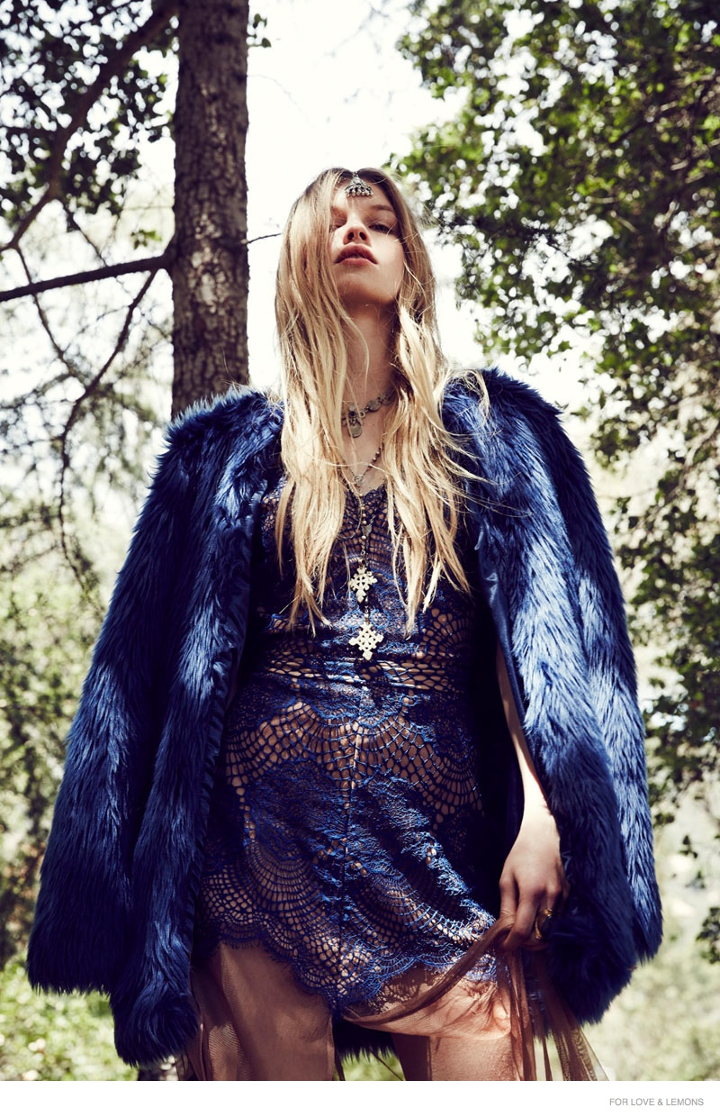 Morgane Warnier Gets Bohemian in For Love & Lemons' Holiday 2014 Lookbook