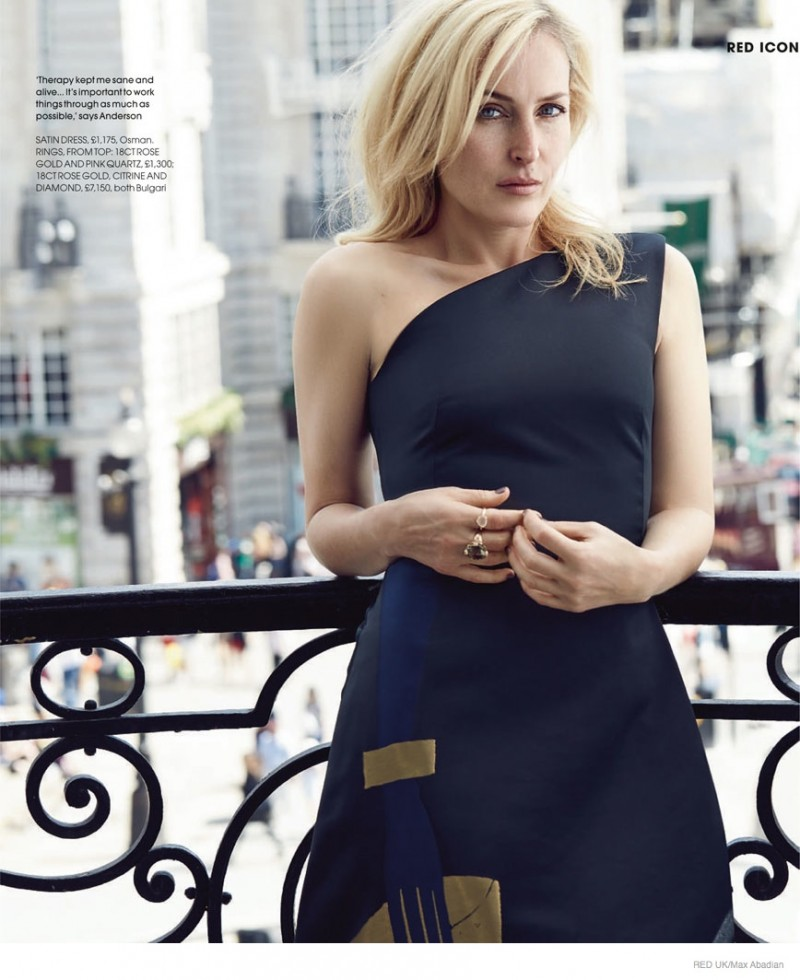 Gillian Anderson Poses for Max Abadian in Red UK Feature