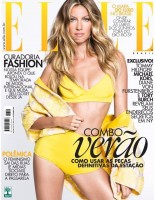 Gisele Bundchen Rocks Yellow Swimsuit on Elle Brazil November 2014 Cover