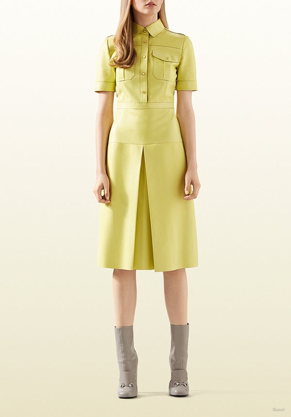 Gucci Light Yellow Leather Shirtdress