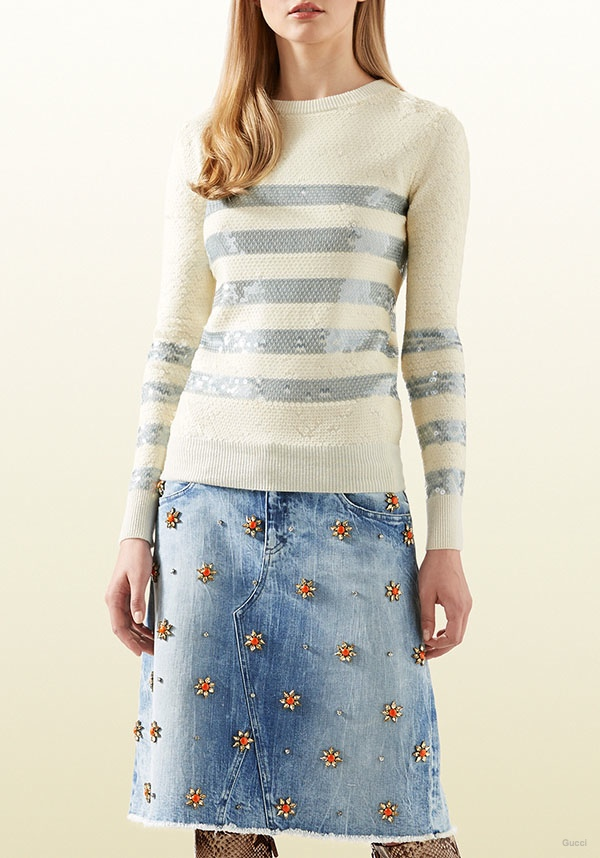 Gucci Glittered Striped Cashmere Sweater
