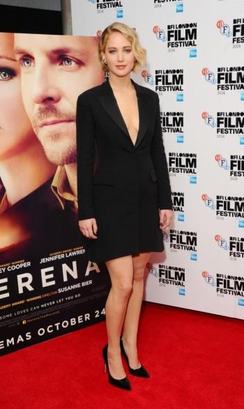 "Jennifer Lawrence Dons Dior Coat Dress at ""Serena"" BFI London Film Festival Premiere"