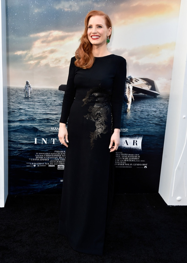 "Jessica Chastain Dons Givenchy Haute Couture Gown for ""Interstellar ..."