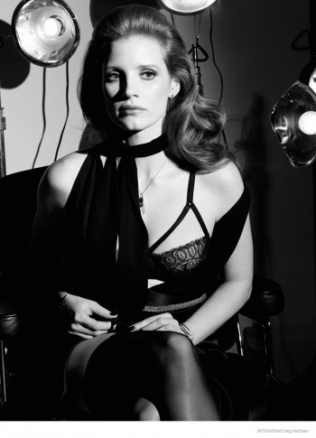 Jessica Chastain Poses in Lingerie for Interview October 2014 Shoot