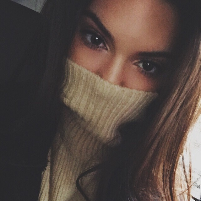 Kendall Jenner covers her face with a turtle neck