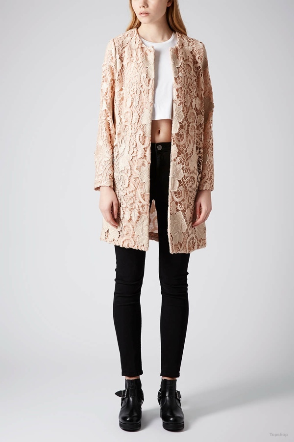Lace Overlay Coat available at Topshop for $150.00