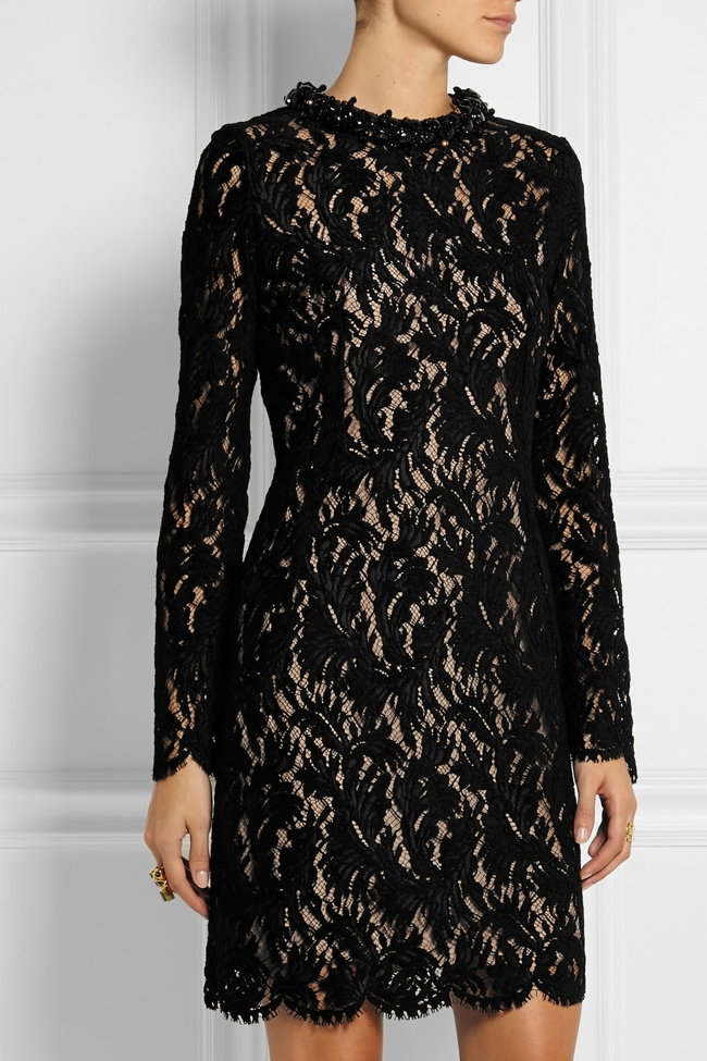 Lanvin Embellished Flocked Lace Dress available at Net-a-Porter for $4990