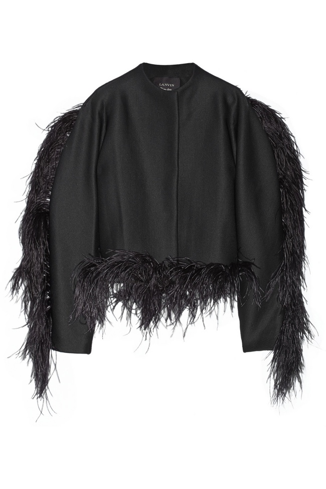 Lanvin Feather-trimmed Wool-blend Jersey Jacket available at Net-a-Porter for $4490