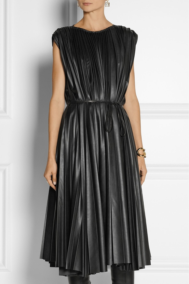 Lanvin Pleated Faux Leather Midi Dress available at Net-a-Porter for $3675