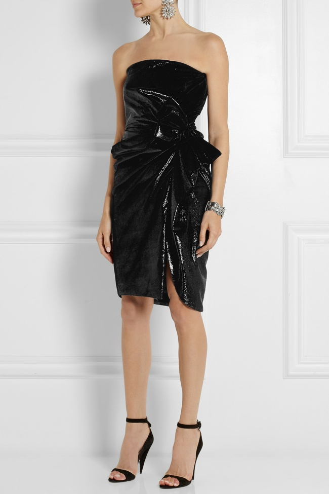 Lanvin Strapless Metallic Velvet Dress available at Net-a-Porter for $4650