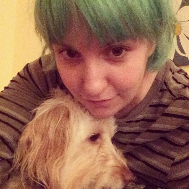 Lena Dunham shared her new green hair with her Instagram followers on October 22nd.