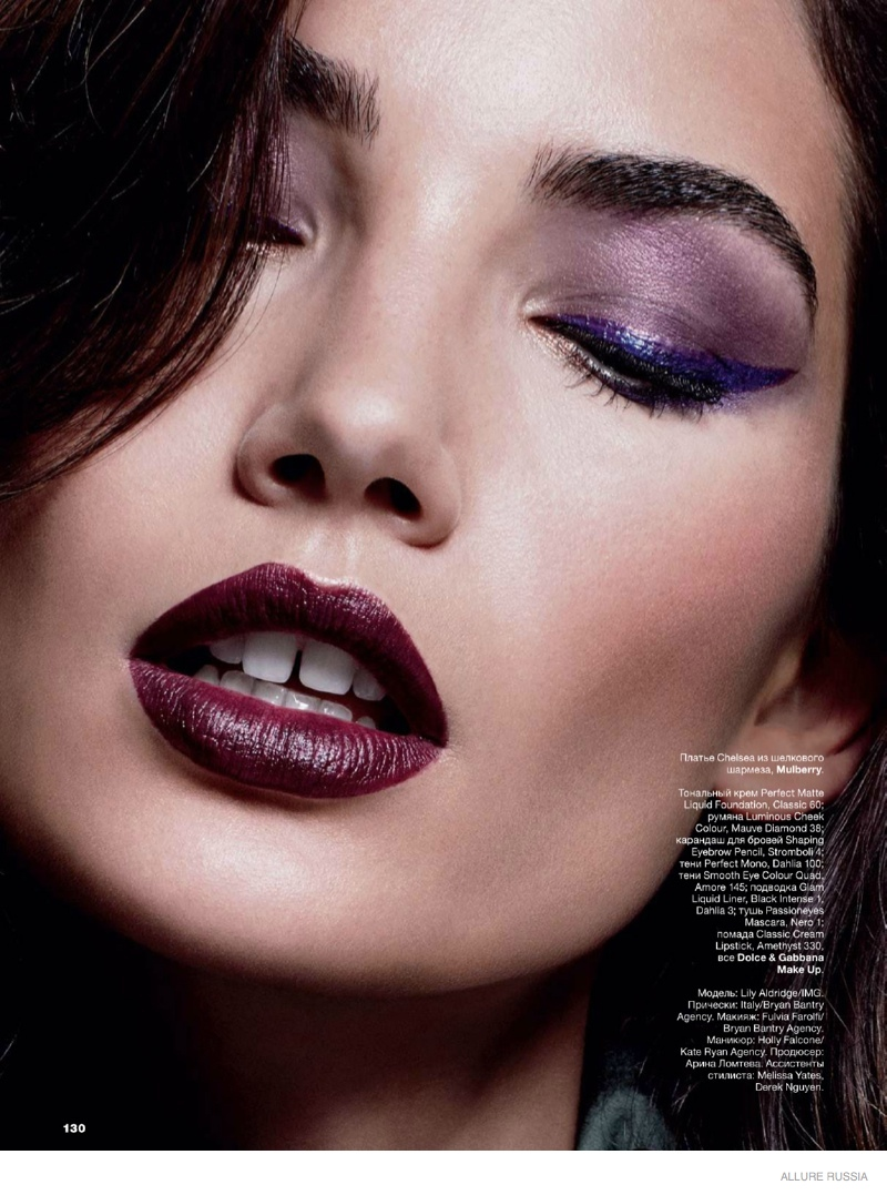 lily aldridge wears fall makeup looks for cover story of
