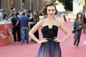 "Lily Collins Wears Elie Saab Dress at ""Love, Rosie"" Rome Film Festival Premiere"