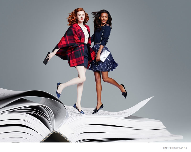 Lindex Christmas 2014 Ads Tap Karen Elson + Liya Kebede