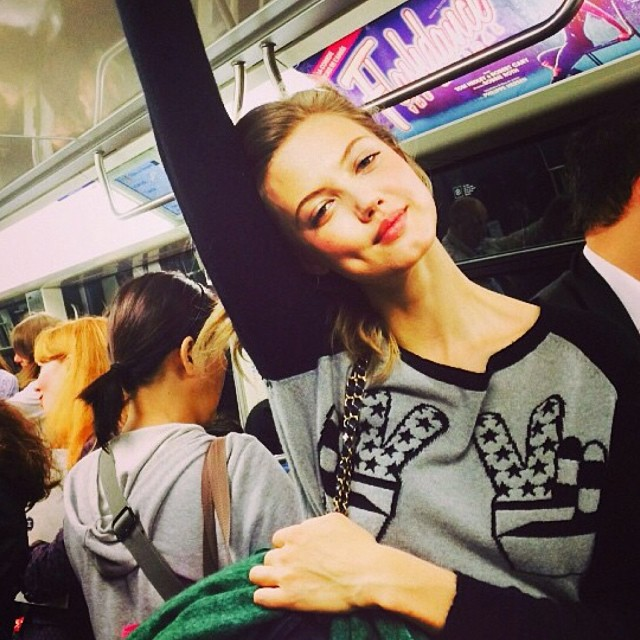 Lindsey Wixson on the subway