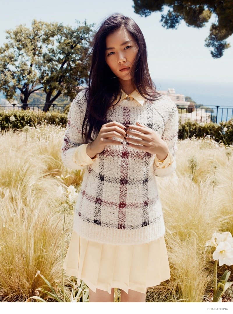 Liu Wen Poses Outdoors in Fall Looks for Grazia China Shoot by Martin Lidell