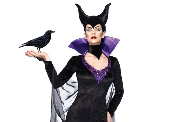 Disney Three-Piece Maleficent Dress with Stand-Up Collar and Head Piece
