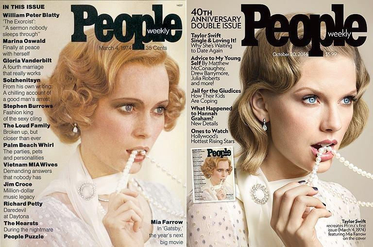 (L) Mia Farrow on People 1974 Cover (R) Taylor Swift on October 2014 Cover of People