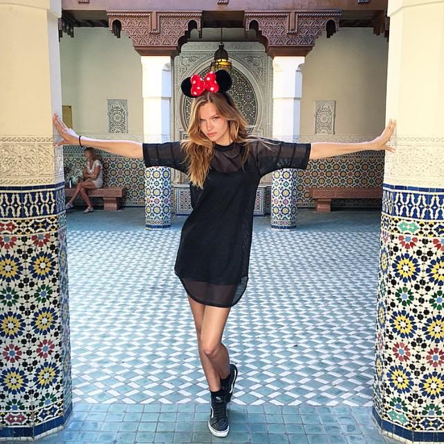 Josephine Skriver wears Minnie Mouse ears in Morocco