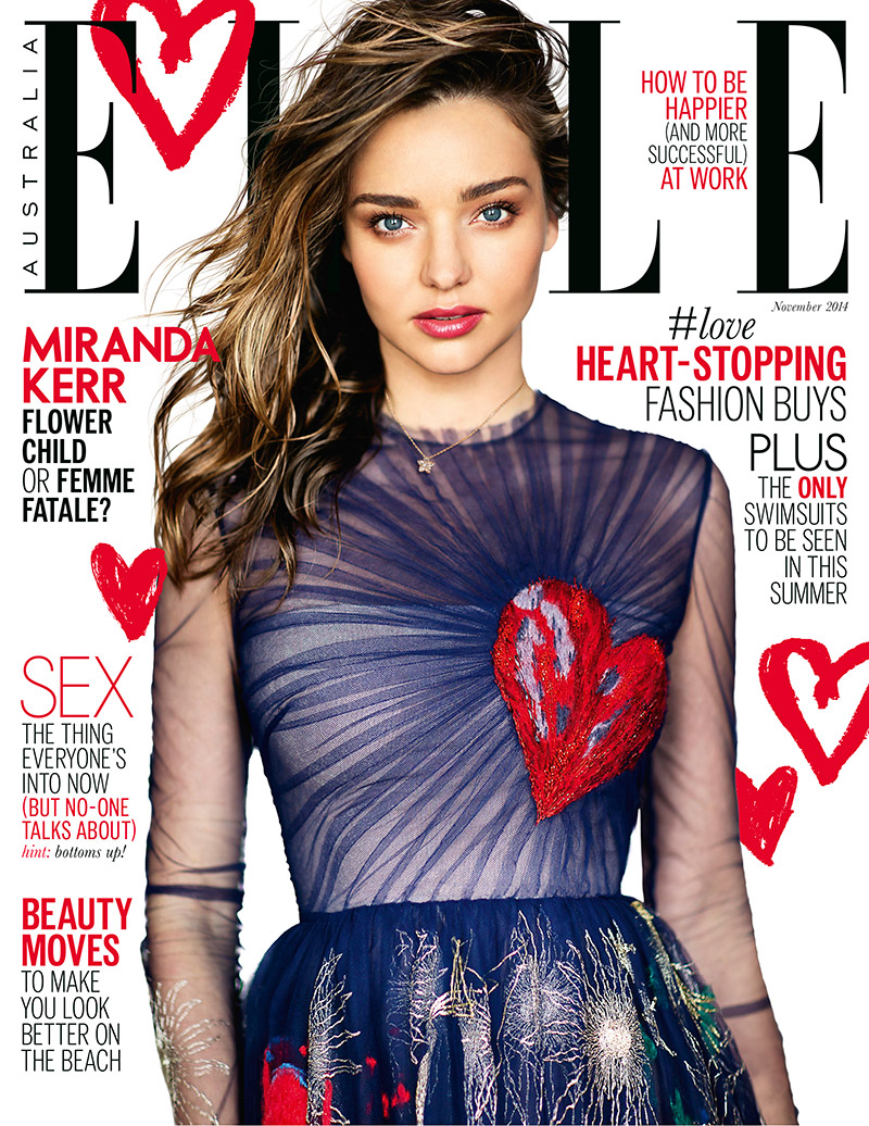Miranda Kerr Wears Valentino on ELLE Australia November 2014 Cover