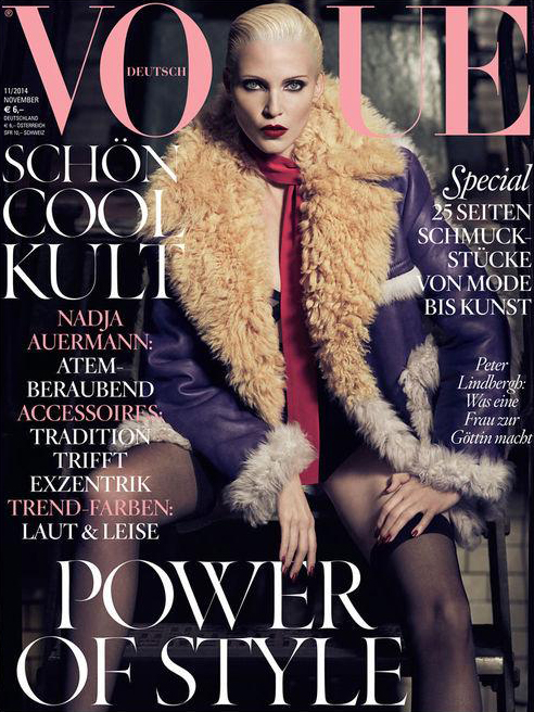 Nadja Auermann Dons Prada Coat for Vogue Germany November 2014 Cover