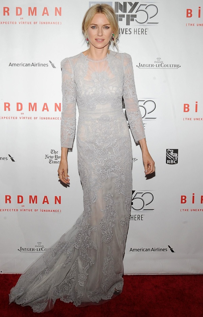 "Naomi Watts in Grey Gucci Gown at ""Birdman"" NYFF Closing Night Gala Presentation"