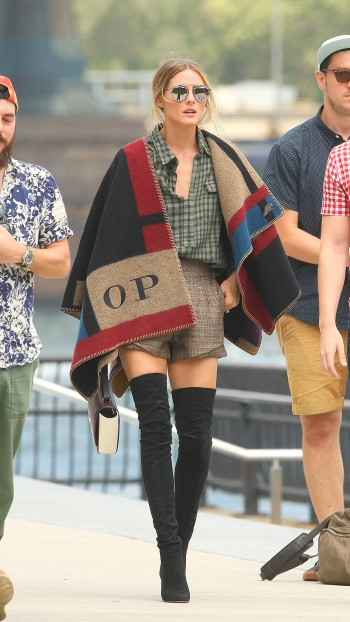 Olivia Palermo wears Burberry monogrammed poncho in Brooklyn. Photo: Splash News