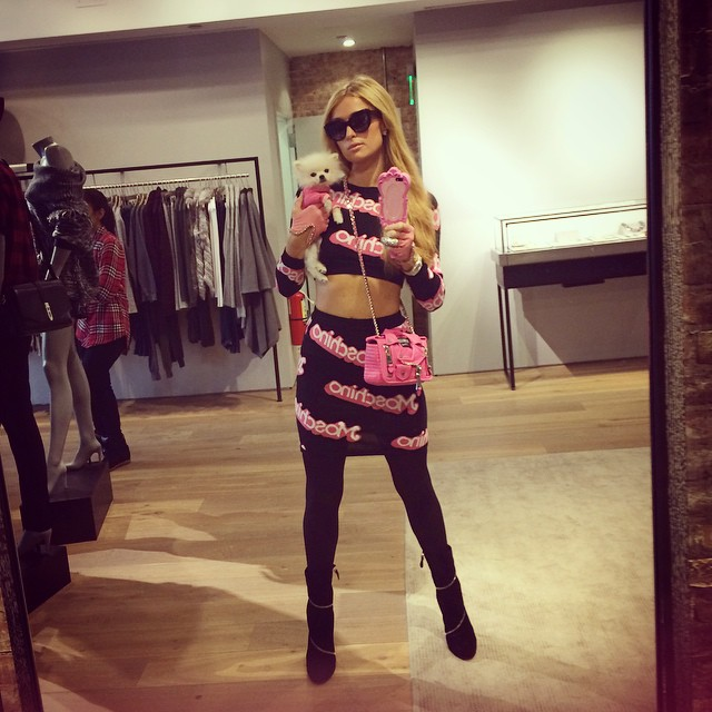 Paris Hilton Looks Like a Real Life Barbie in Moschino Look
