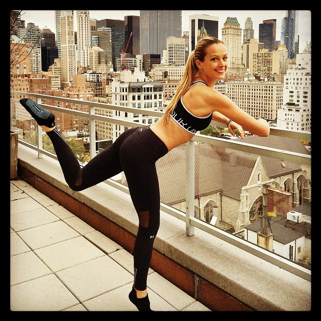 Petra Nemcova wears Under Armour workout clothes