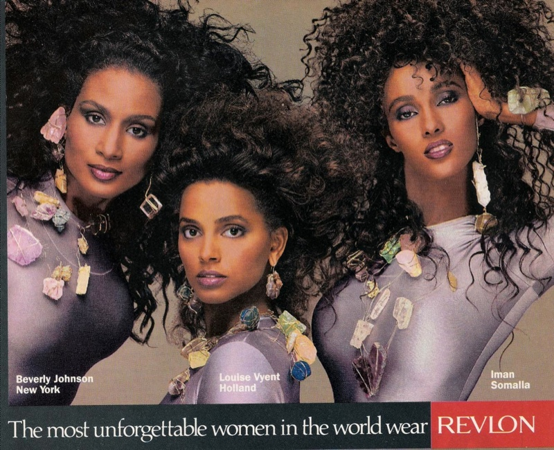 Beverly Johnson, Louise Vyent and Iman in 1980s Revlon Ad