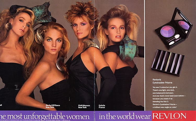 Jerry Hall, Rachel williams, Patti Hansen and Estelle France in 1980s Revlon Ad