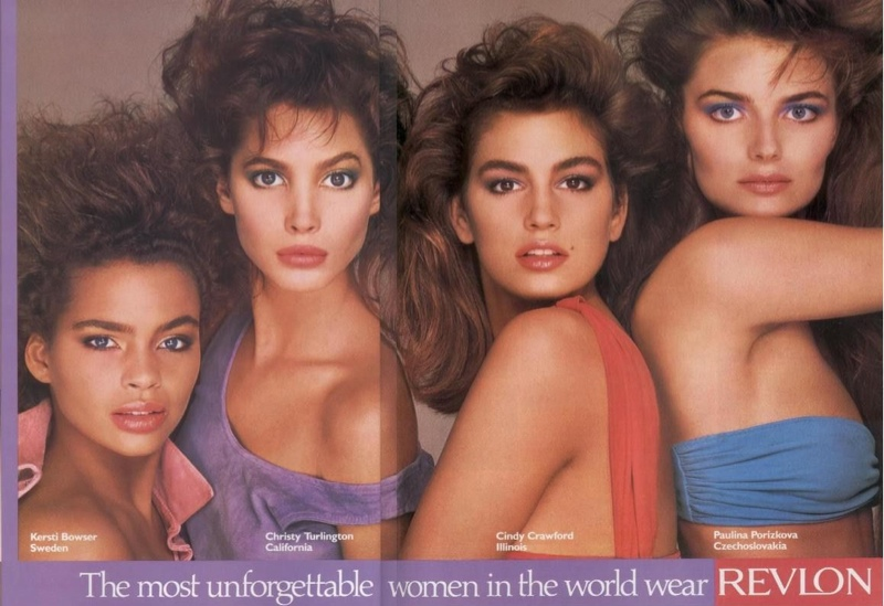 Kersti Bowser, Christy Turlington, Cindy Crawford and Paulina Porizkova in 1980s Revlon Ad