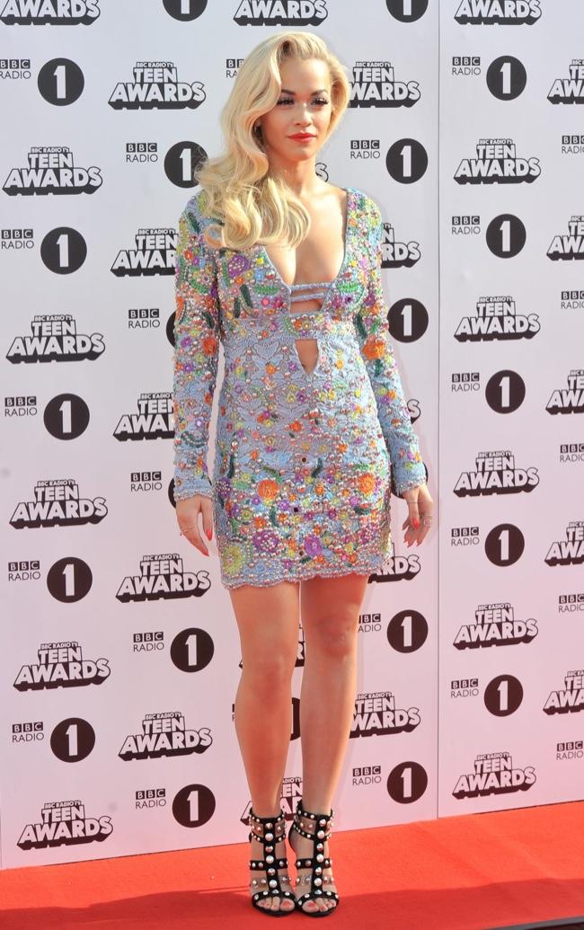 Rita Ora Gets Leggy in Emilio Pucci Mini Dress at Radio 1 Teen Awards 2014