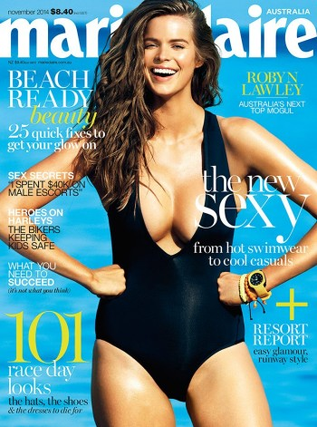 Robyn Lawley Wears Swimsuit on Marie Claire Australia November 2014 Cover