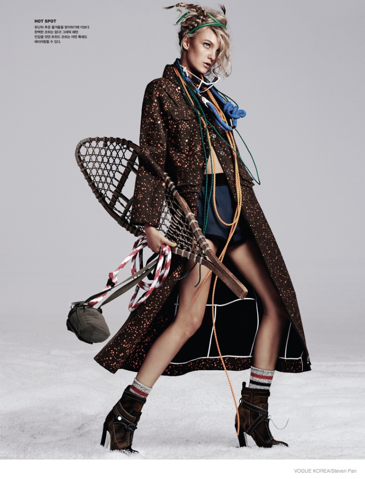 Caroline Trentini Sports Ski Style for Cover Shoot of Vogue Korea